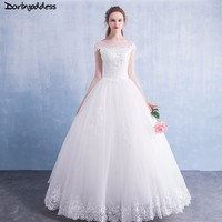 Luxury Short Sleeves Wedding Dress 2018 Lace Beaded Wedding Gowns White Floor Length Wedding Dress Real Photo Robe de Mariee