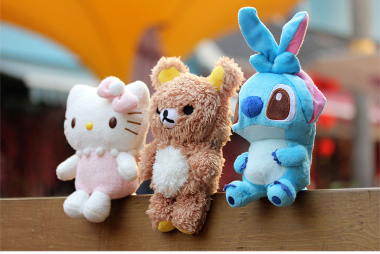 3D Cartoon Stitch Kitty Teddy Bear Case Cover For iPhone / Samsung / HTC / Sony / LG /xiaomi Plush idoll For Phone Max size 3.5