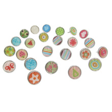 50 pcs Fashion Mixed Card Pastel Stamping Round Brads Scrapbooking Embellishment DIY Home Accessories Craft Decoration