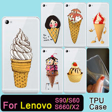 TPU Caso de Telefone Transparente Para Lenovo S90 S60 S660 X2 Sobremesa sorvete de Silicone Macio Casos de Cobertura de Proteção