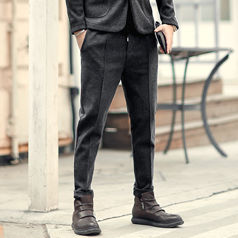 New Metrosexual Man Leisure Slim Rubber Waist Casual European Style Long Pants Spring Men's Woolen Brand Design Trousers K7035