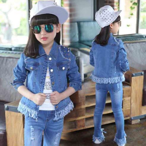 Girls Sports denim Suits Spring Autumn Children Fashion Kids Clothing Sets Jacket+ Pants 2 Pieces Cowboy 4-12T