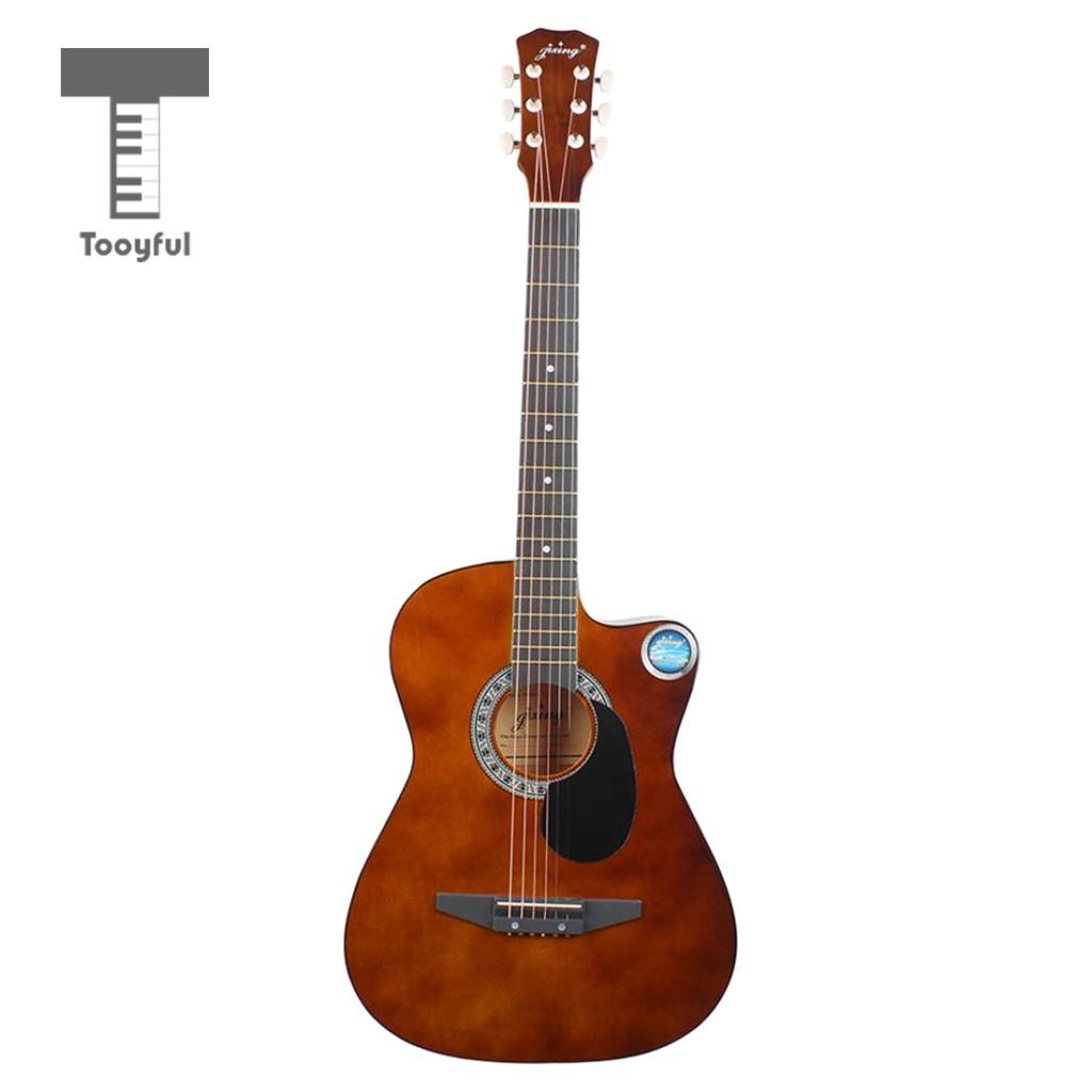 38 Inch Wooden Cutaway Acoustic Folk Guitar for Beginners Novice Practice Coffee monsters of folk monsters of folk monsters of folk