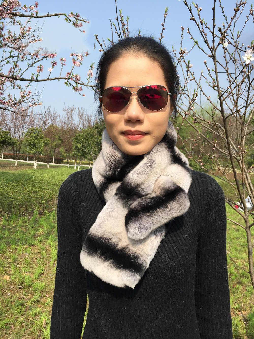 100% echt Rex Kaninchen Pelz Schal Männer Frauen Kinder Chinchilla grau gestreiften fell neckwarmer schal wrap luxus Ein Gesicht Pelz, benutzerdefinierte