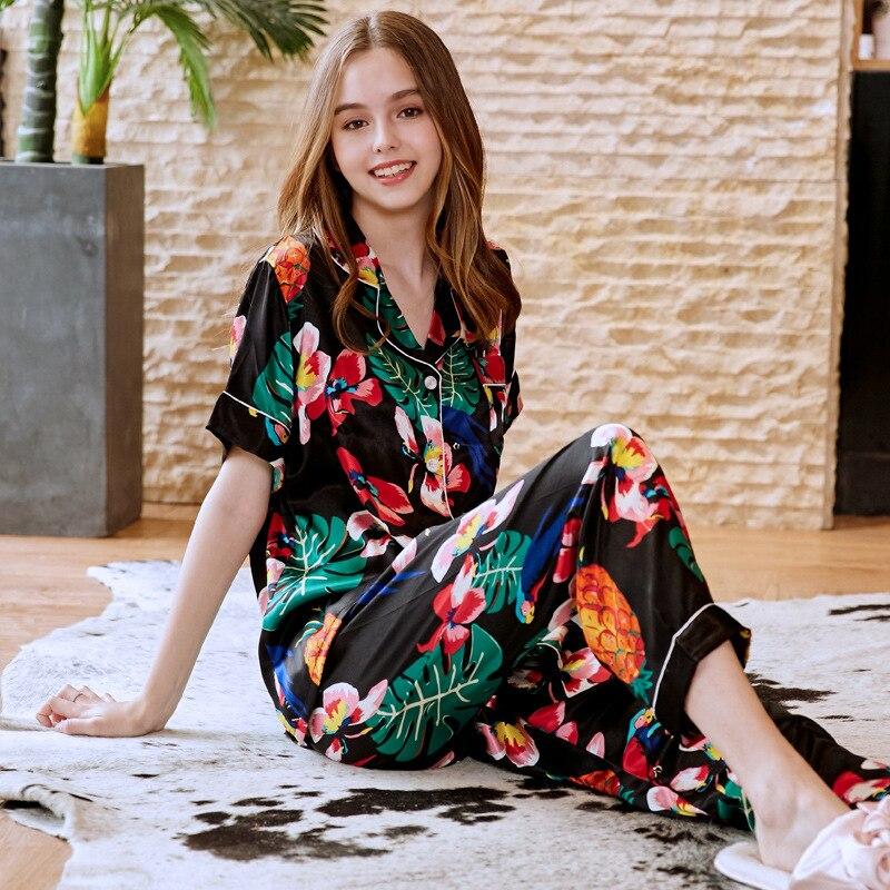 SSH0215 Women   Pajamas   Spring Summer Short Sleeves Long Pants Two Pieces   Set   Pyjamas Satin Silk Sleepwear Flower Print   Pajama     Set