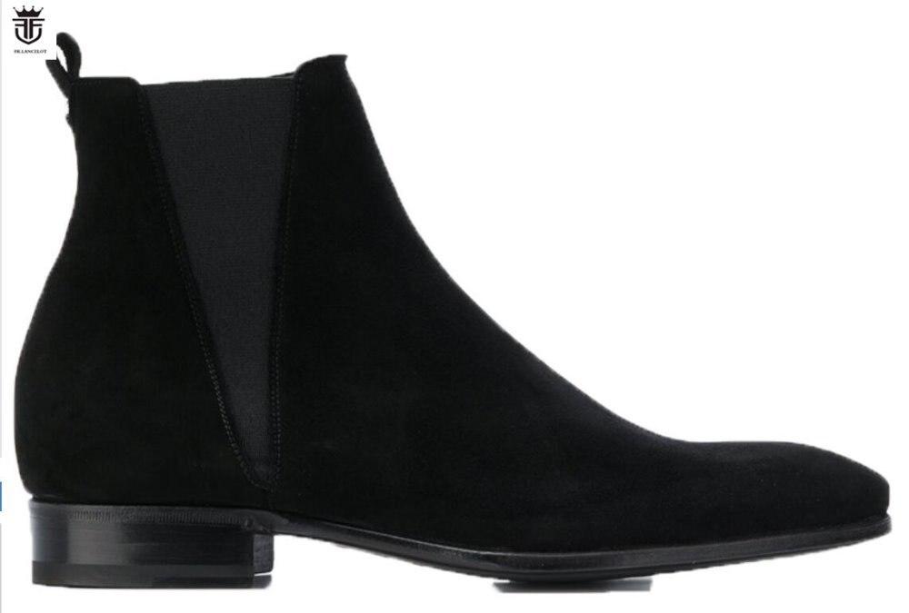 FR. ланселот 2018 новый бренд мужские ботинки на молнии с острым носком замша ботинки челси средний каблук мужские винтажные сапоги празднично...