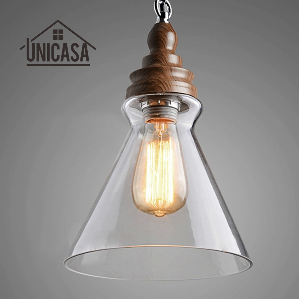 Clear Glass Shade Modern Pendant Lights Vintage American Country Lighting  Fixtures Kitchen Antique Mini Led Pendant