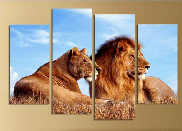4Pc a Set Animals Lions King Art Print Painting Poster, Wall Pictures for Home Decoration,Wall Decor