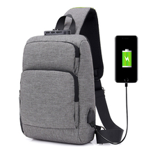 купить Password anti theft bag USB Charging Men Chest Messenger Casual Shoulder Bags Travel Crossbody по цене 1471.97 рублей