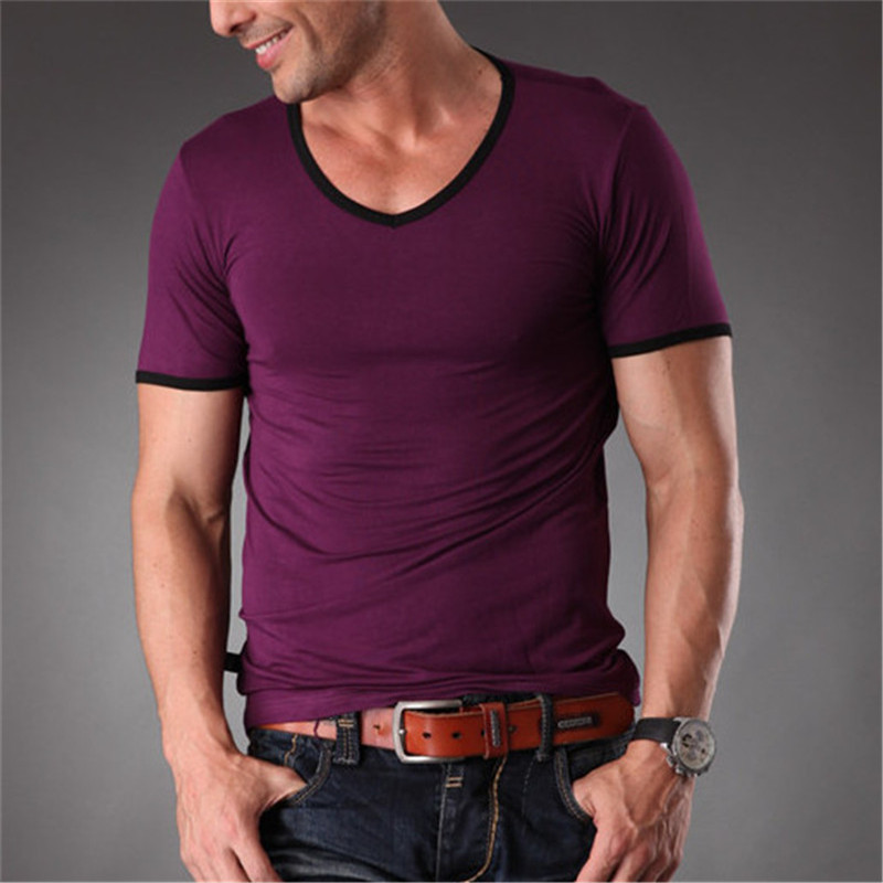 RL High Quality New Mens Bamboo Fiber Plain T Shirt V Neck Slim Fit Workout Tops Tees For Men Clothes 2019 Summer MT-1351