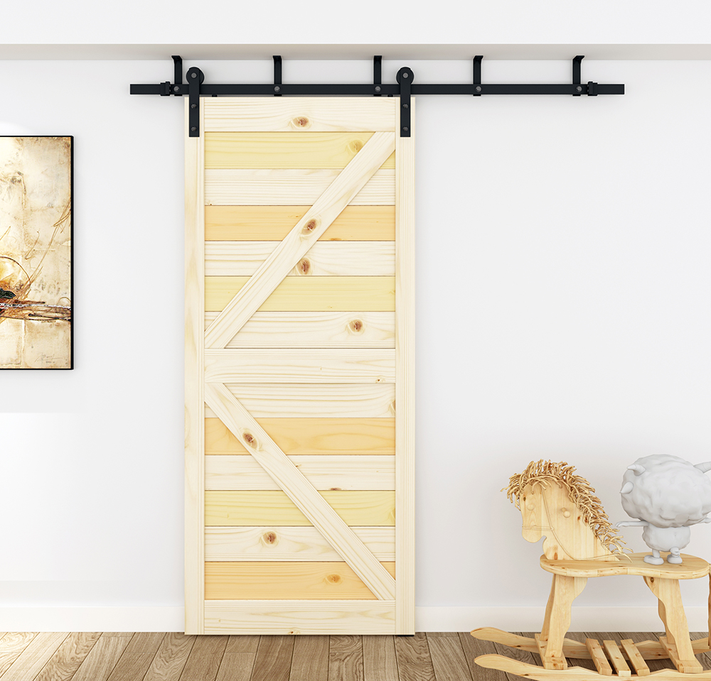 DIYHD 5ft-8ft Ceiling Mount Sliding Barn Door Hardware Rustic Black Ceiling Bracket Barn Door Track