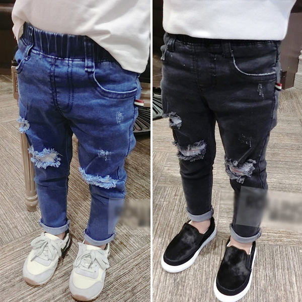 Kids Jeans Pants Toddler Girls Boys High-Quality Fashion Denim Casual for 2-7Y Holes