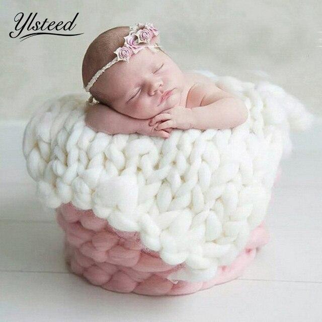 5050cm crochet wool blanket basket stuffer filler newborn baby photography blanket backdrops photo studio