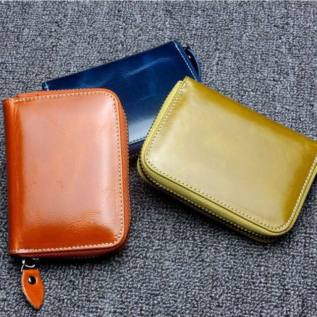 Shine Oil Cowhide Genuine Leather Female Multifunction Credit Card ID Holders Slot Simple Fashion Design Coin Pocket Bag