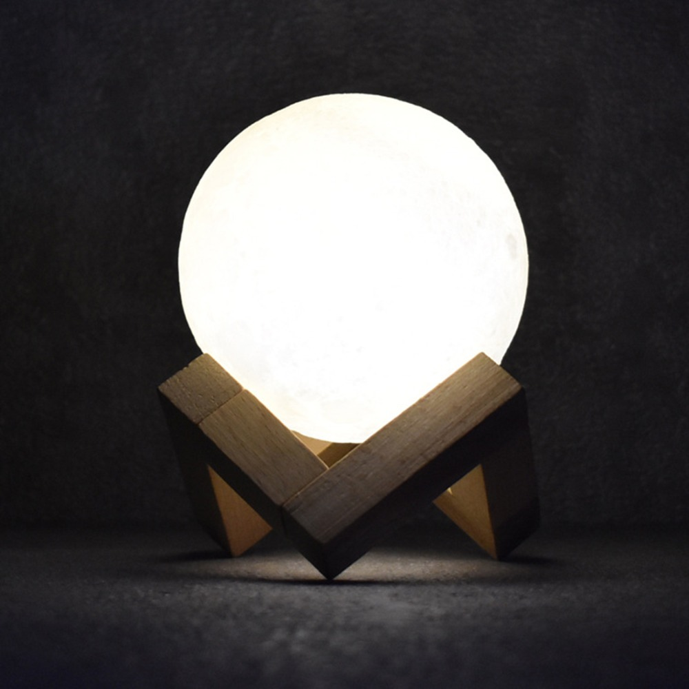 Rechargeable 3D Lights Print Moon Lamp 3 Color Change Touch Switch Bedroom Bookcase Moon Home Decoration Miniature Creative Gift