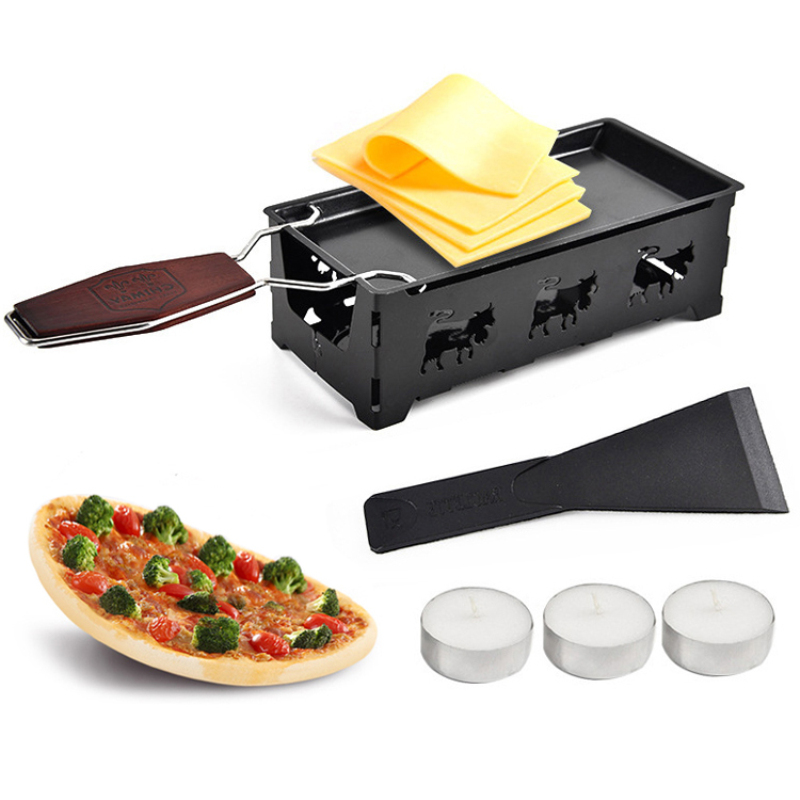 Grill Cheese Raclette Set Non-stick Griller Mini BBQ Cheese Board Baked Cheese Oven Iron Swiss Cheese Melter Pan Tray Kitchen image