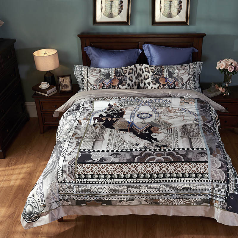 Luxury Egyptian Cotton printing horse Bedding set beige ...