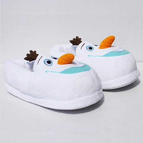 "11""28cm Winter Home Indoor Warm Olaf Plush Slippers White Cute Free Size Snowman Soft Slippers For Children"