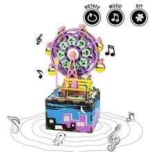 Robotime Draaibare DIY Reuzenrad Houten Muziekdoos Clockwork Type Interieur Schoonheid Geschenken Voor Vrienden Kinderen AM402