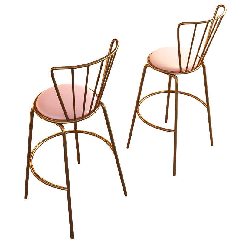 Nordic bar stool modern minimalist wrought iron back creative home high bar stool
