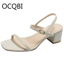 Womens Block Square Heel Concise Sandal Shoes Summer Single Strap Sandals Casual Shoes for Women egonery summer 2018 new flock cross strap lace up and zip med square cover heel solid concise fsahion casual women sandals