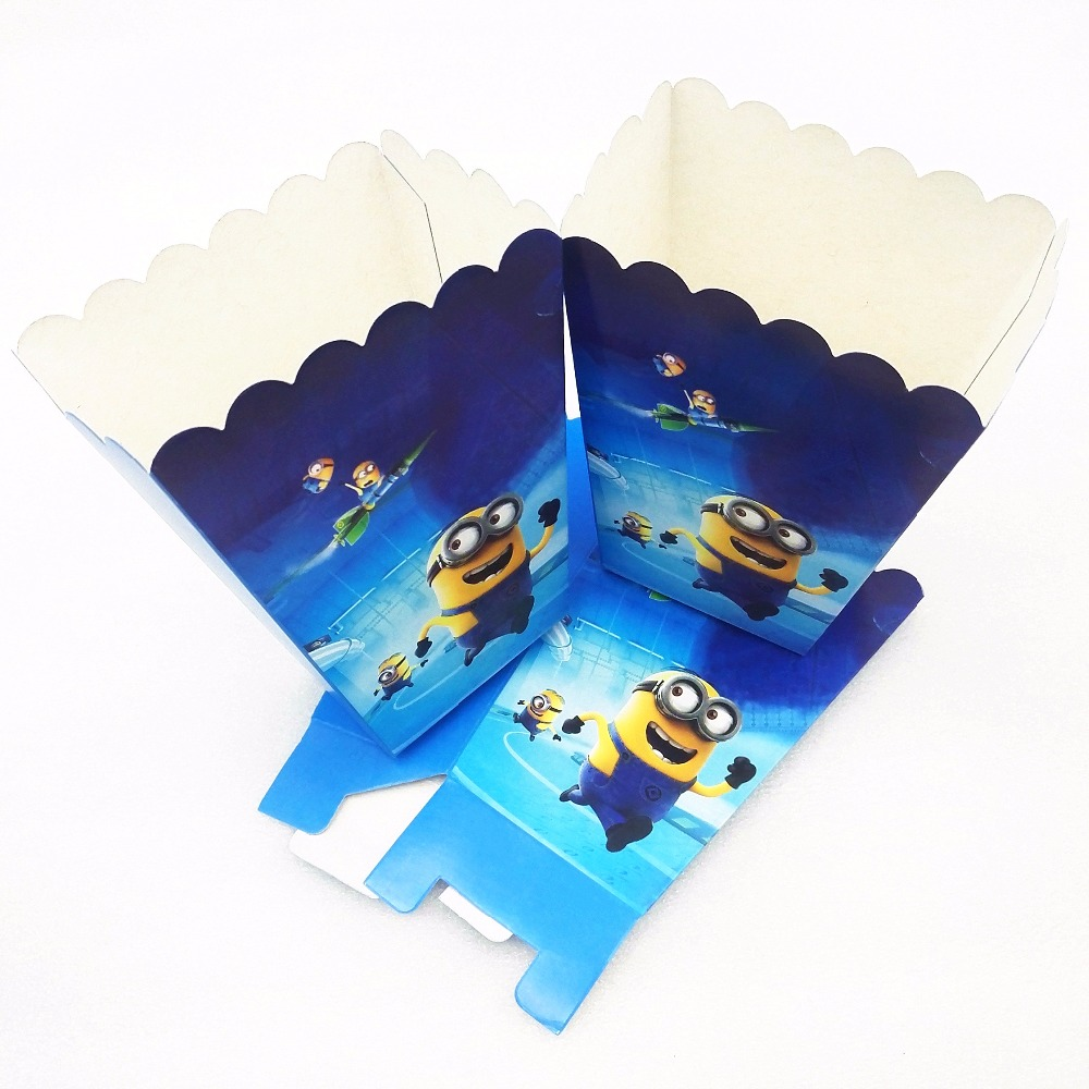 6Pcs Minions Party Supplies Popcorn Box Candy Gift Box Party Favors Baby Shower Accessory Birthday Minions Party Decoration in Gift Bags Wrapping Supplies from Home Garden
