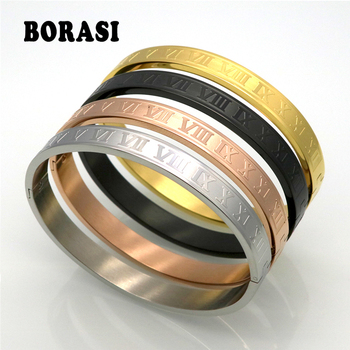 Men And Women Stainless Steel Rose Gold Color Couples Bracelet Carving Roman Numeral Lover Cuff Bracelet Bangle Wedding Jewelry