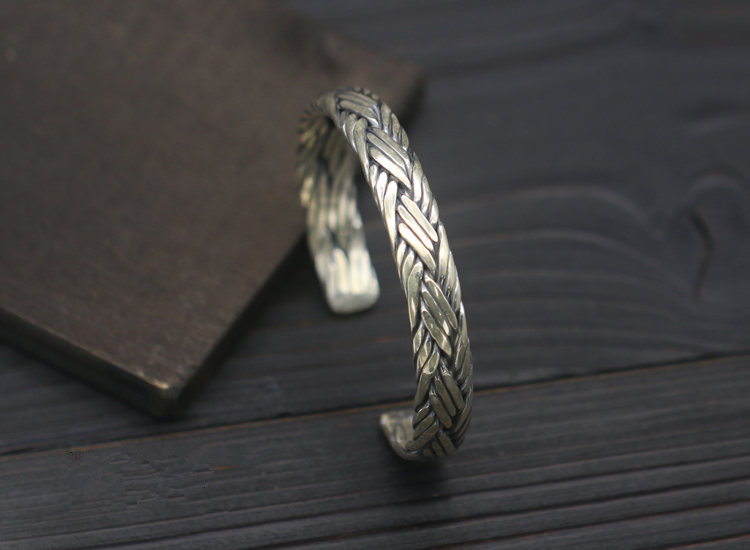 39g Pure Solid Sterling Silver 925 Braided Weave Cuff Bangle Bracelet Men Women Simple Brief Style Trendy Mens 925 Jewelry Gifts - 3