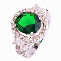 Luxuriant Emerald Quartz White Topaz 925 Silver Ring Size 7 8 9 10 Fashion Women Bridal Wedding Jewelry Wholesale Free Shipping