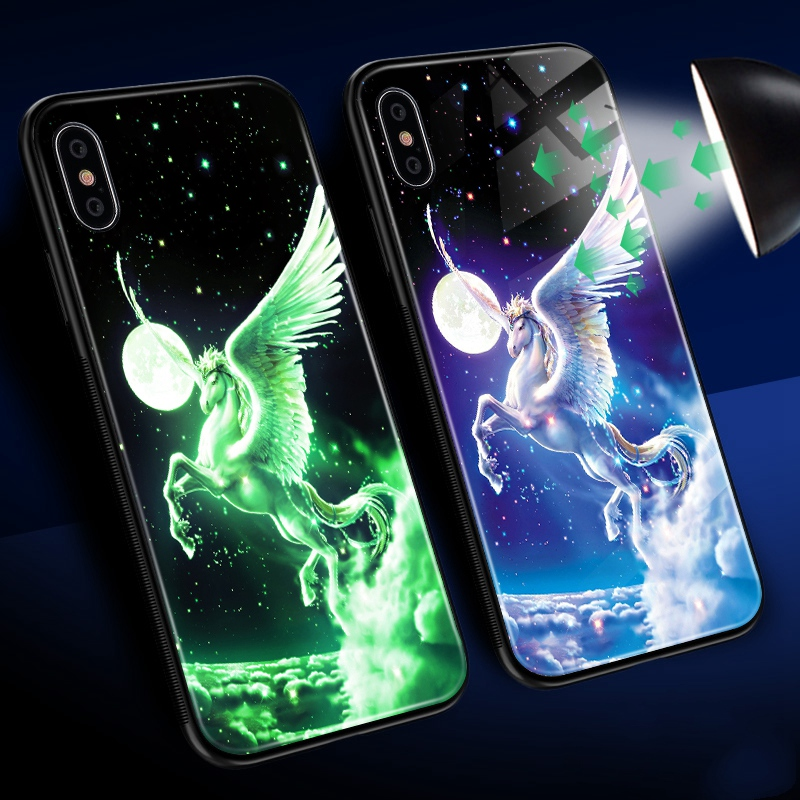Luminous Case For iPhone X XS MAX Case For iPhone 7 6 s 8 Plus X 10 Luxury PC+Tempered Glass Pattern Silicone Edge Cover (7)