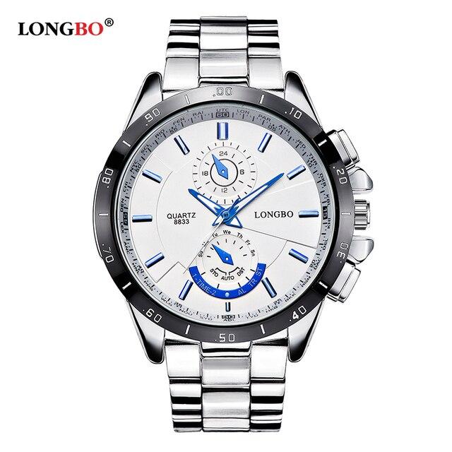 Longbo Top famous sports brand military diving quartz men's watch full steel waterproof fashion luxury watches relogio Masculino