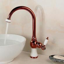 Кухонный кран золото Медь водопроводной воды холодной и горячей кран Раковины Растительное стиральная бассейна раковина смеситель 360 градусов вращающийся кран