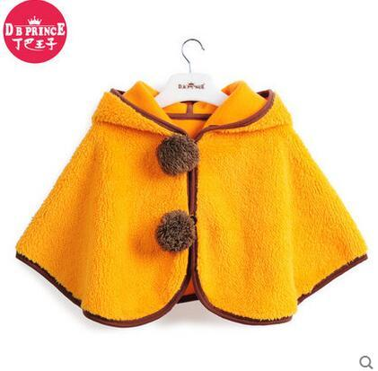 retail! 2016 Fleece Baby Coat Cloak Two-sided Outwear Baby Poncho Cape Infant Baby Coat Children's Brands Clothing free shipping