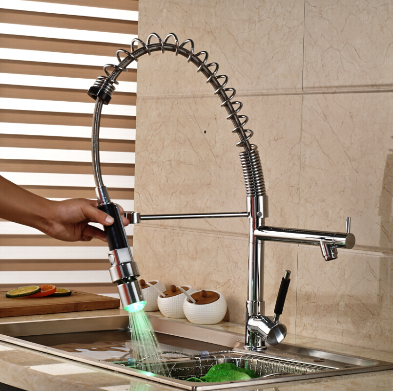 Aliexpress.com : Buy Home Decor One Handle Spring Kitchen Faucet Hightening LED  Light Swivel Dual Spout Kitchen Mixer Taps From Reliable Taps Sink  Suppliers ...