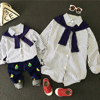 Family Matching Set Shirts Mother Daughter Striped T Shirts Clothes Son Outfits 2017 Spring Mama Kid Bear Mum Baby Bow Tie Shirt
