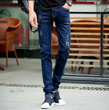 Tide Male Cowboy Hole Men Jeans Pants Slim Straight Korean Men Jeans New 2016 Skinny Jeans Men Size 28-34