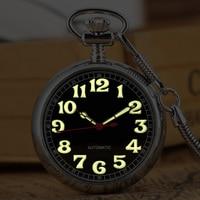Mechanical Pocket Watch Practical Automatic Self winding Movement Pocket Watches Luminous Pointer Clock Pendant Open Face Watch
