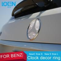 LOEN 1PC High Quality Luxury 2 Size Car Styling Rear Logo Silver Crystal Diamond Decorative Sticker