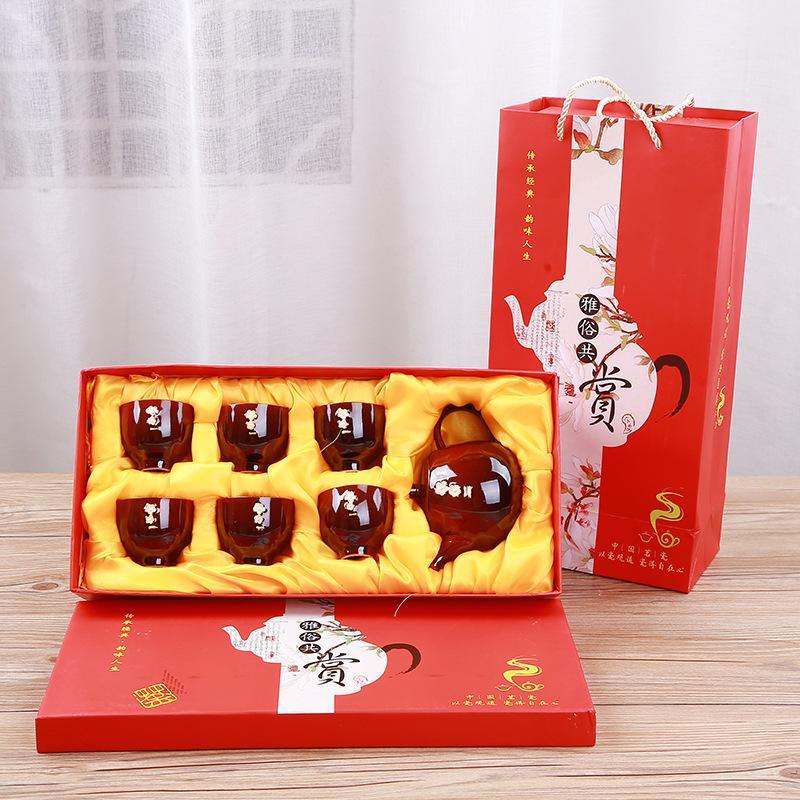6 pièces thé et thé ensemble cadeau céramique four théière ensemble Kung Fu thé ensemble cuisine porcelaine thé cérémonie ensemble thé pour cadeau de luxe - 6