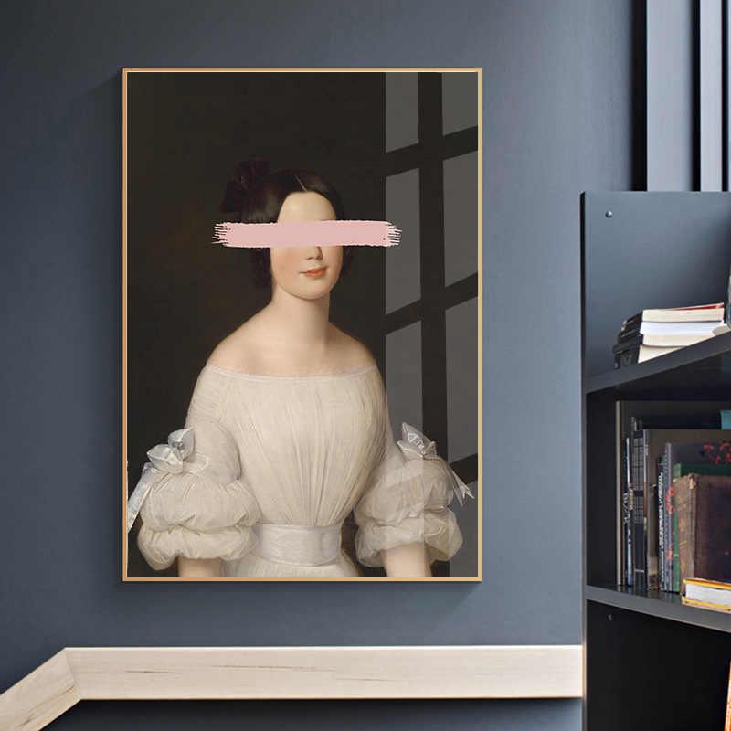 레트로 여자 조각 르네상스 아트 포스터 추상 캔버스 벽 인쇄 그림 현대 스타일 그림 현대 룸 장식
