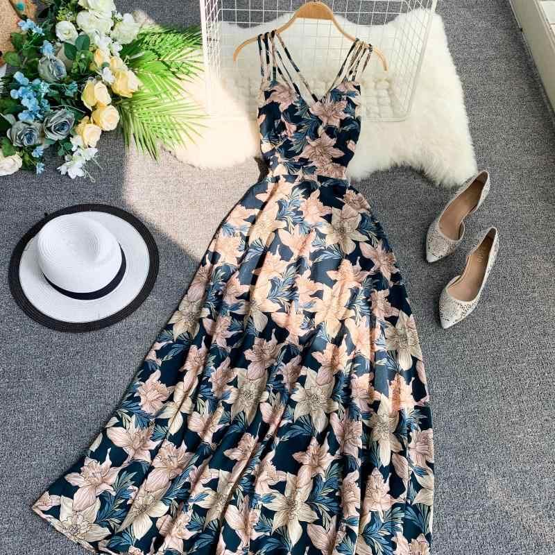 Океанlove богемное пляжное стильное летнее платье для женщин с открытой спиной и принтом трапециевидной формы Длинные платья 2019 сексуальное платье с высокой талией 11515