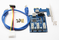 3 in 1 PCI Express PCI E 1X slots Riser Card PCI E 1 to 3 Expansion Adapter 2 Layer PCB Board + 60cm USB 3.0 Cable for Mining