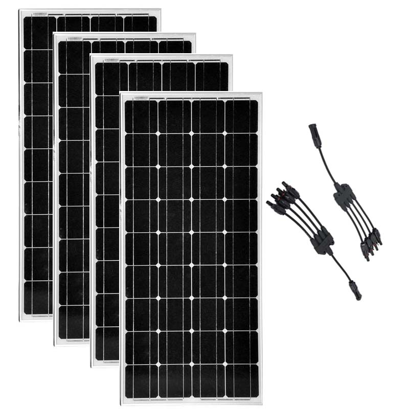 <font><b>Solar</b></font> <font><b>Panel</b></font> <font><b>100</b></font> <font><b>Watts</b></font> 12 Volts Monocrystalline 4 Pcs <font><b>Solar</b></font> Modules 400w 48v 4 in 1 Connector Boat Off Grid Battery System image