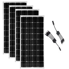 Solar Panel 100 Watts 12 Volts Monocrystalline 4 Pcs Modules 400w 48v in 1 Connector Boat Off Grid Battery System