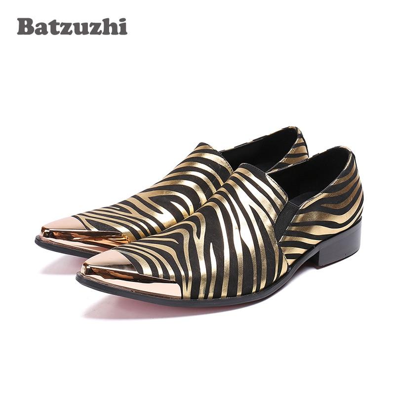 Batzuzhi Luxury Men Shoes Gold Metal Cap Leather Shoes Men Black Gold Genuine Leather Dress Shoes Men Party and Business, US12 цена