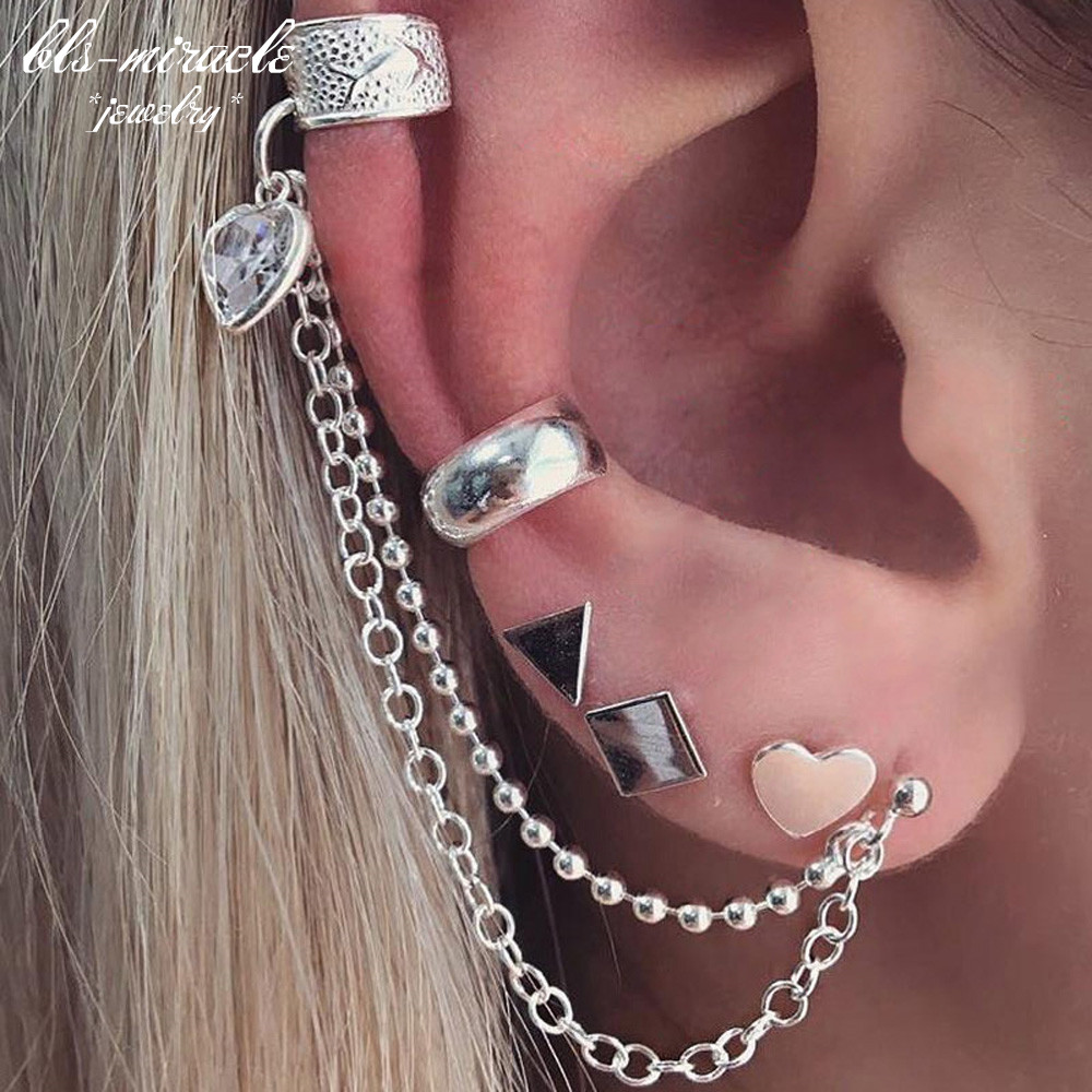 1set=5pieces New Fashion jewelry vintage alloy silver color geometry heart stud set earrings best gift for girl wholesale E512