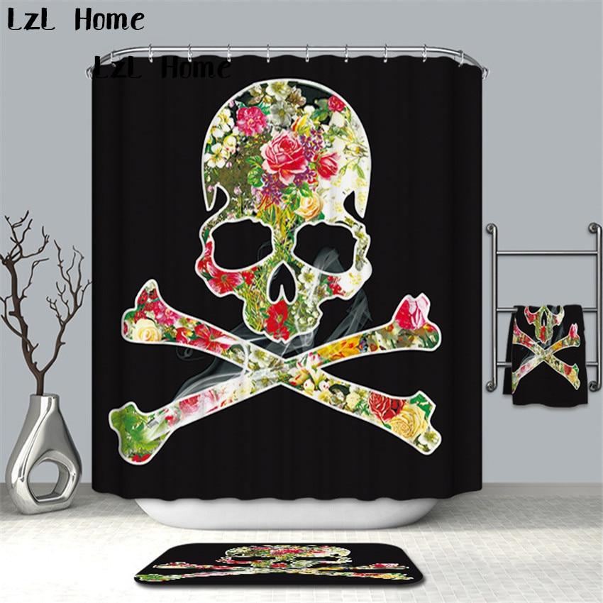 LzL Home Fashion Skull Printed Bathroom Curtain Polyester Waterproof Shower Curtain Hooks High Quality Curtains Bath Customize zwbra shower curtain