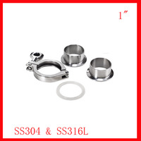 Free Shipping 1 0 SS304 Pipe Clamp Set 2x Ferrule 1xclamp 1xgasket Tube Fitting
