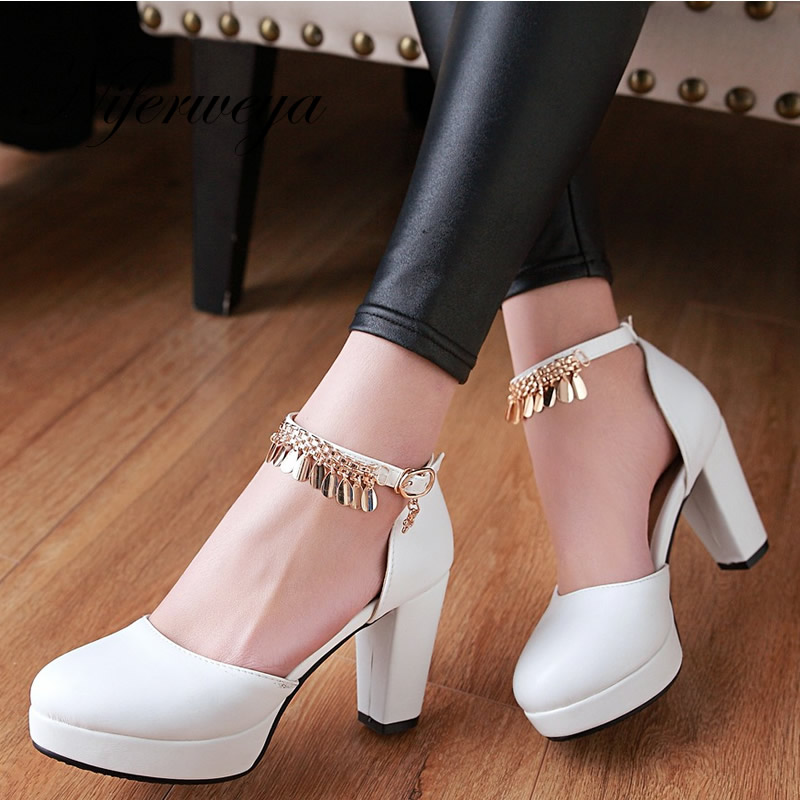 Spring/Autumn women party shoes big size 31-47 ladies Buckle Strap pumps fashion Round Toe thick heel platform high heels 73-3 new fashion spring autumn women shoes platform high heels buckle strap thick heels pumps lady shoes small big size 31 43 0061