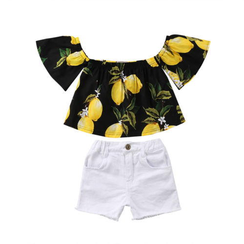 1-7Y Toddler Baby Girls Summer Lemon Outfits Off Shoulder Tops+White Pants Shorts 2PCS Kids Print Clothes Set